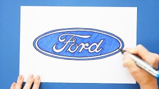 How to draw and color Ford Logo