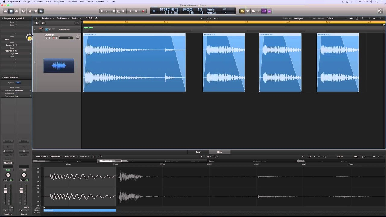 how to get rid of fade logic pro x
