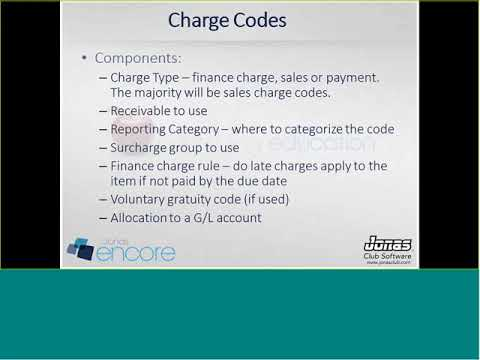 Jonas Encore - Charge Codes, Billing Items, Sales Items & More