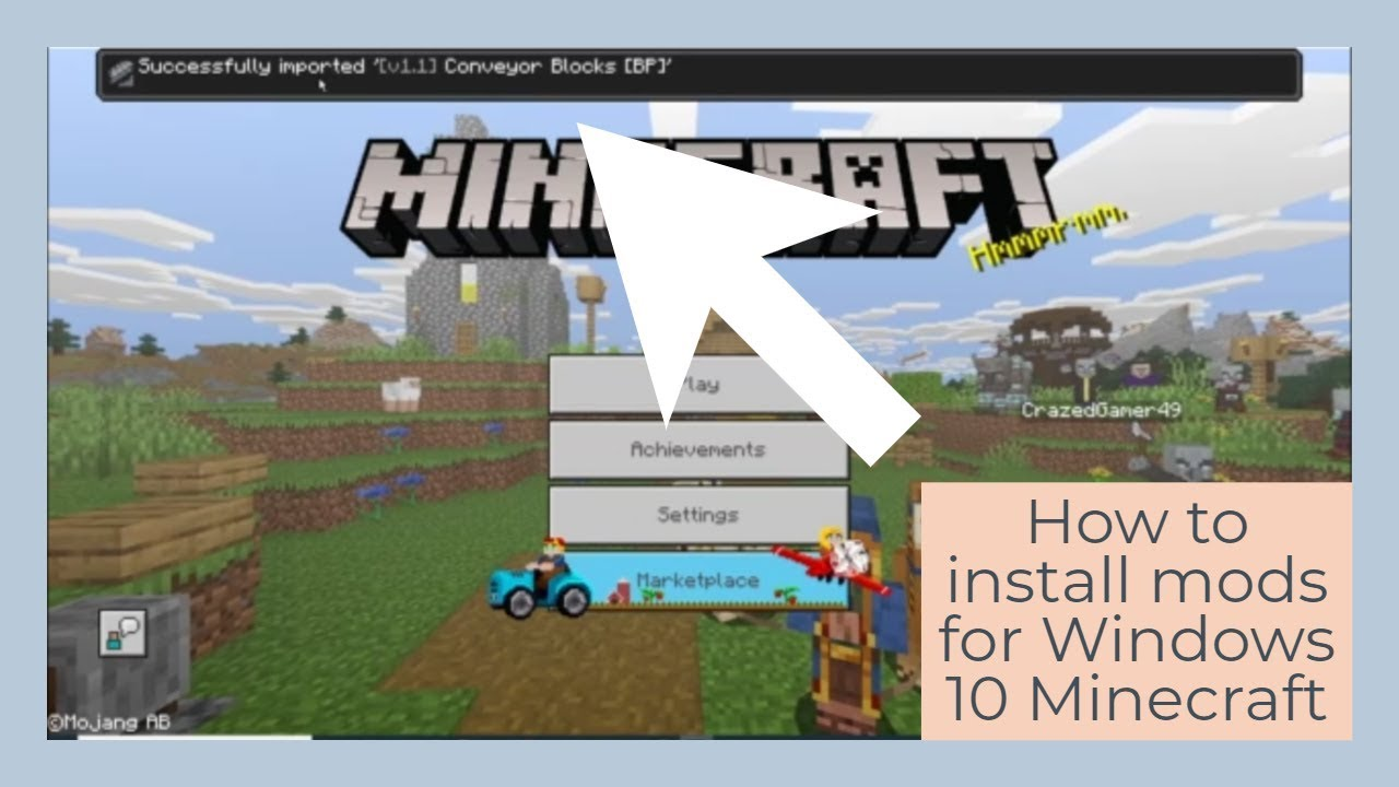 How to install mods for Minecraft Windows 10 Edition (easy) YouTube