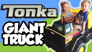 Giant Tonka Ride On Mighty Dump Truck Kid Car Demo & Yard Work