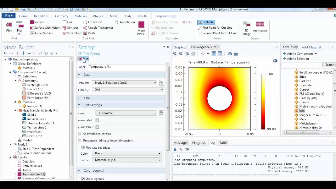 COMSOL: Time Dependent 2D Heat transfer Problem with Animation L-4