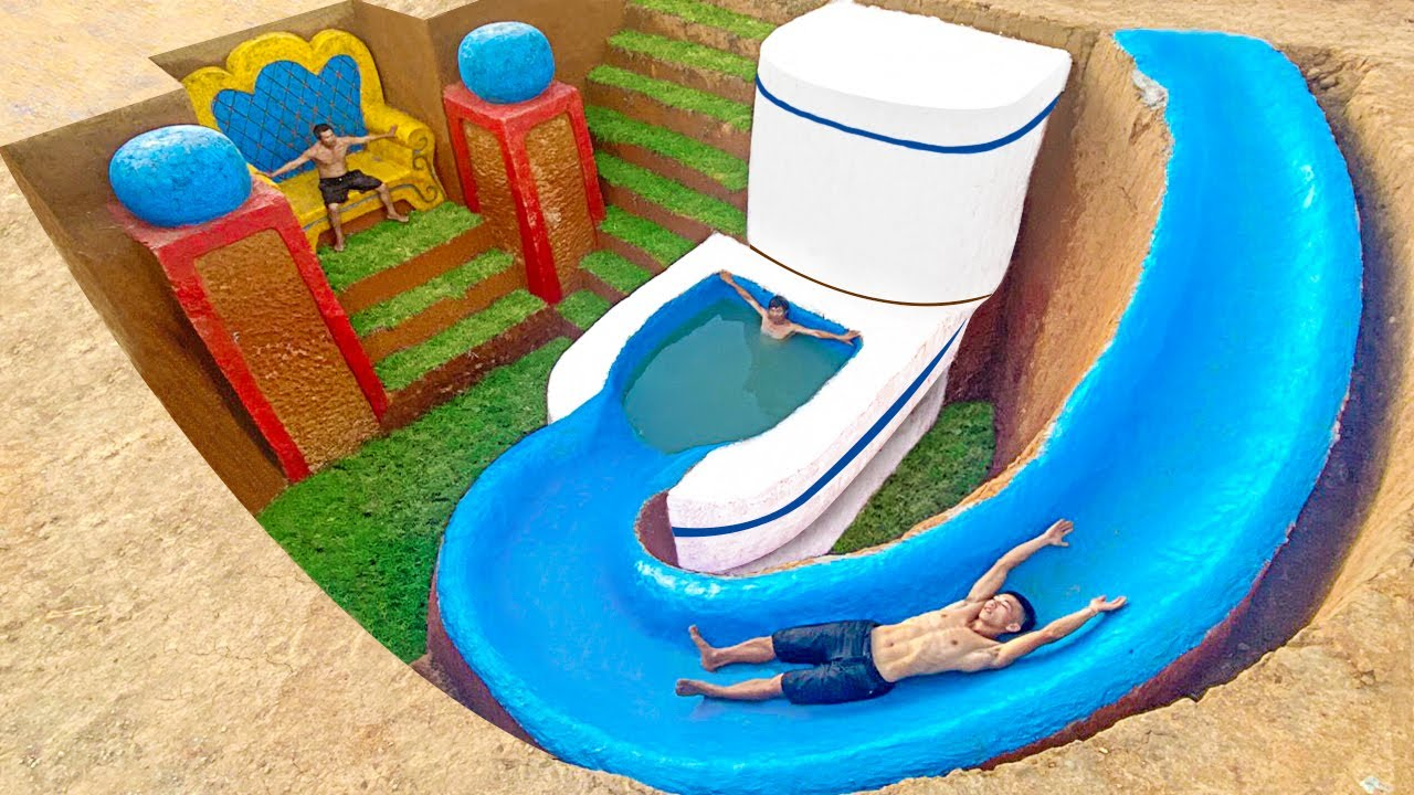 Building Underground Tunnel Water Slide Park To Toilet Swimming Pool And Underground Temple House