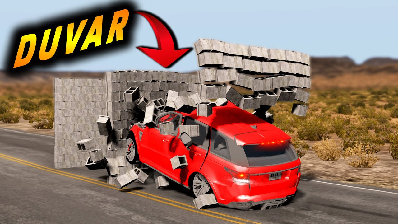 DUVARA ÇARPAN ARABA KAZALARI // PARÇALANAN ARABALAR :D #2 // BeamNG.drive // beamng speed bumps