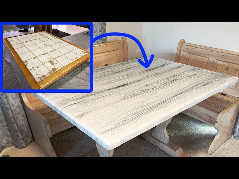 Resurface Old Tile Table Using Epoxy Resin To Give It a Wood Vein Marble Look!