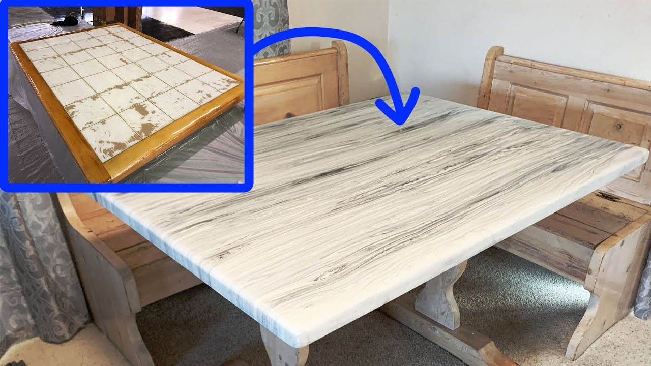 resurface old tile table using epoxy resin to give it a wood vein marble look