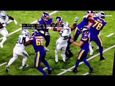 Sam Bradford takes a hit to head Vikings