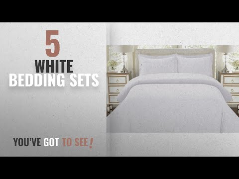 Top 10 White Bedding Sets [2018]: HC COLLECTION-1500 Thread Count Egyptian Quality Duvet Cover Set,