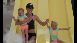 Babies first waterslide! 😱