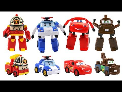 Robocar Poli and fake Cars Transformers Toys for kids - Poli,Amber,Roy,McQueen,Mater,Jackson Storm - YouTube