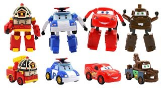 Robocar Poli and fake Cars Transformers Toys for kids - Poli,Amber,Roy,McQueen,Mater,Jackson Storm