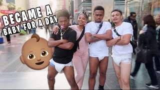 WE BECAME BABIES AND WORE DIAPERS IN PUBLIC FOR THE DAY! *We Found Our Dads*