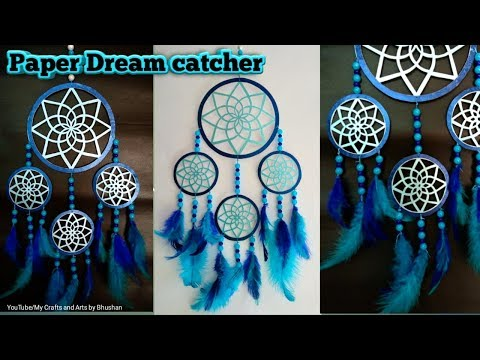 How to make a paper dream catcher for wall hanging decoration