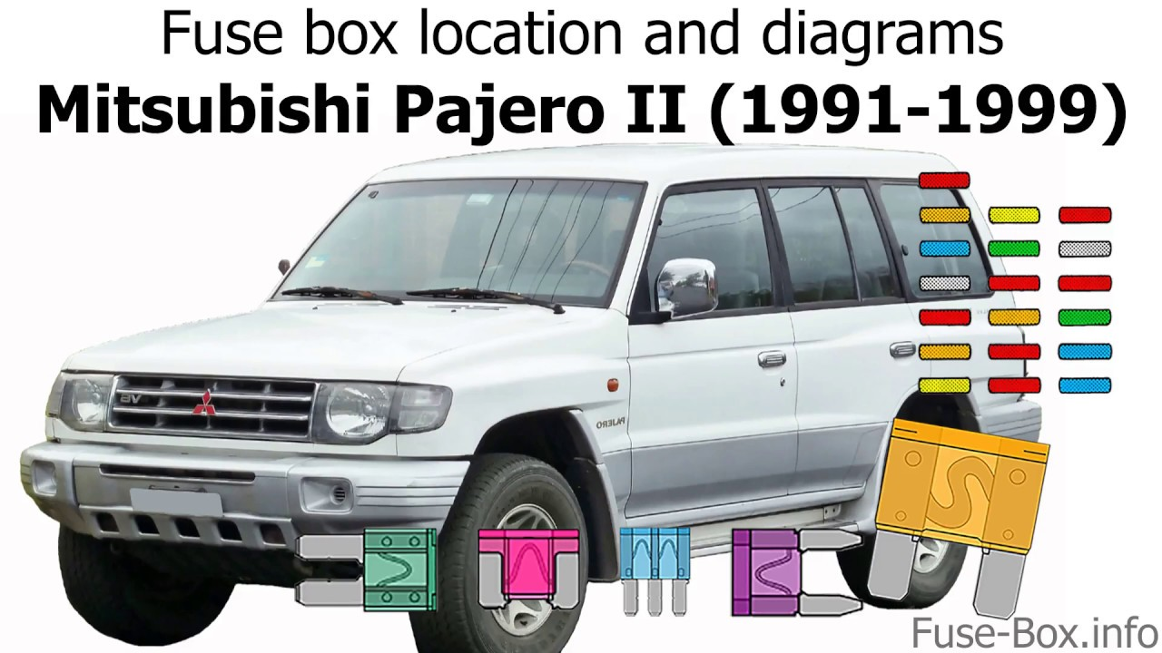 Fuse box location and diagrams: Mitsubishi Pajero II (1991-1999) - YouTube | 99 Mitsubishi Montero Fuse Box |  | YouTube