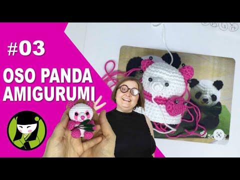 OSO PANDA AMIGURUMI 03 como tejer un oso panda pequeño a crochet