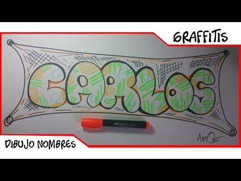 Dibujar nombre en graffiti carlos como dibujar letras - Graffitis en papel ...