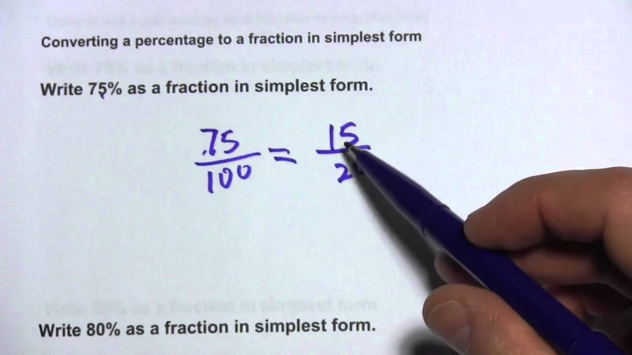 Converting a Percentage to a Fraction in Simplest Form - YouTube
