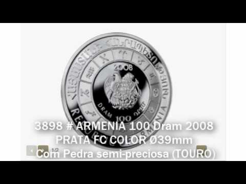 3898 # ARMENIA 100 Dram 2008 PRATA FC COLOR Ø39mm C/ Pedra Semi-preciosa (TOURO)