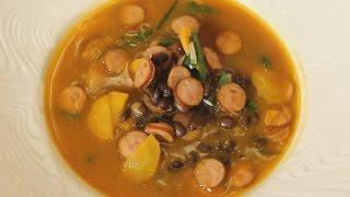 Суп фасолевый по чешски с копчеными колбасками. Рецепт от шеф-повара.