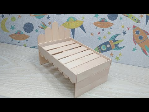 How to Make Wooden Doll Bed Using Popsicle Stick | DIY Ice Cream Stick Bed