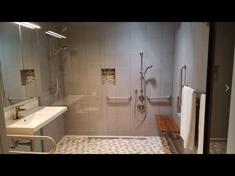Wheelchair Accessible Bathroom - Curbless / Roll in shower