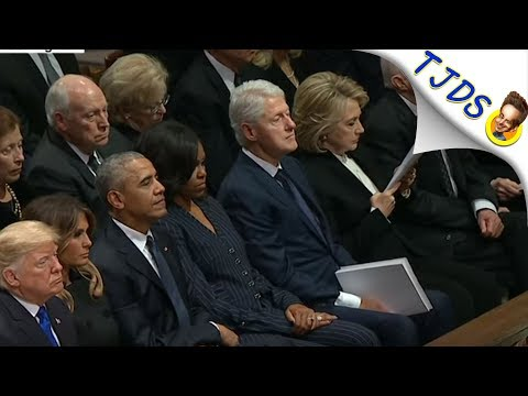 Hillary Ices Trump At Bush Funeral