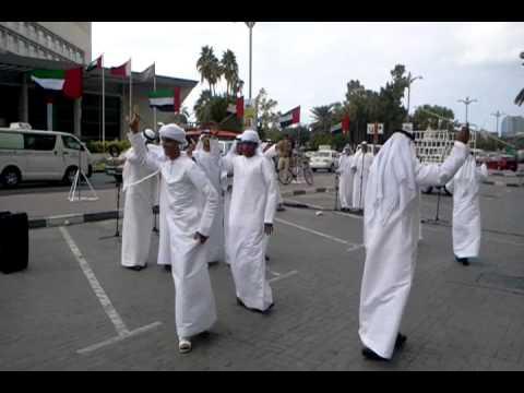 Local Arabs Singing Dancing Celebrating National Day in Dubai United Arab Emirates