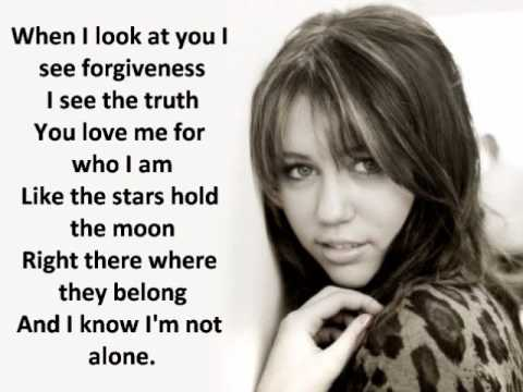 miley cyrus - when i look at you LYRICS ON SCREEN