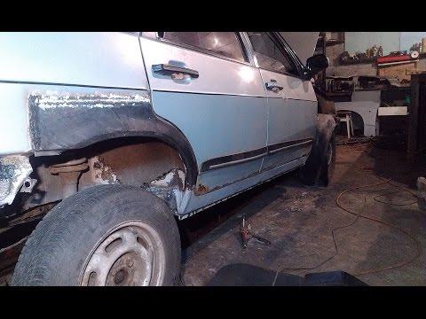 Cмотреть видео онлайн Замена порогов и ремонтных арок заднего крыла ВАЗ 21099 правая сторона