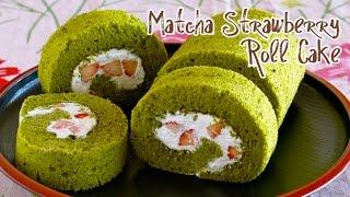 Matcha Strawberry Roll Cake (Japanese Swiss Roll Recipe) 抹茶いちごロールケーキ - OCHIKERON - CREATE EAT HAPPY