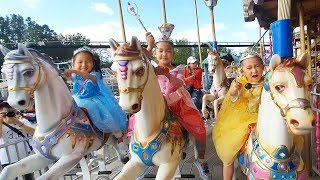 Three little princess have fun playing at the amusement park |  LoveStar pretend play