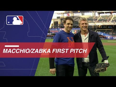 Ralph Macchio throws out first pitch to William Zabka