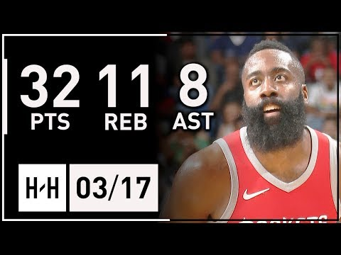 James Harden Full Highlights Rockets vs Pelicans (2018.03.17) - 32 Pts, 11 Reb, 8 Ast, CLUTCH!