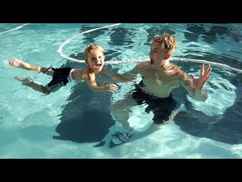 Jake Paul TEACHES Mini Jake Paul HOW TO SWIM!!