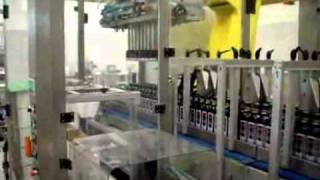 Укладка стеклянной бутылки в гофрокороб (ООО
