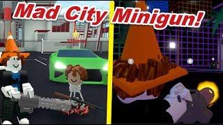 MAD CITY MINIGUN UPDATE!! (Roblox Mad City Body Armor, Vapid, Dominator)