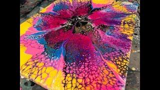 "Acrylic Pour Painting: Easy Circle Swipe ""Starburst"""