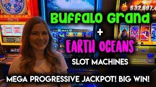 BIG WIN! Mega Progressive Jackpot WON! Earth Oceans Slot Machine! BONUS!