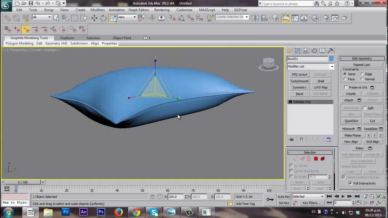 3d s max almohada con modificador cloth youtube for Cama 3d autocad