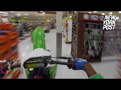 Gizmo - Man Rides Motorcycle Through Grocery Store and Films It All