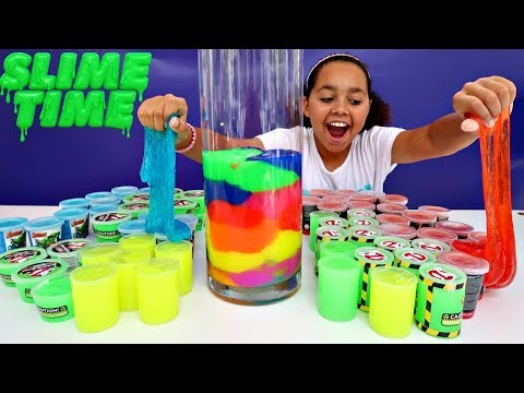MIXING ALL MY STORE BOUGHT SLIMES!! Giant Smoothie | Toys AndMe