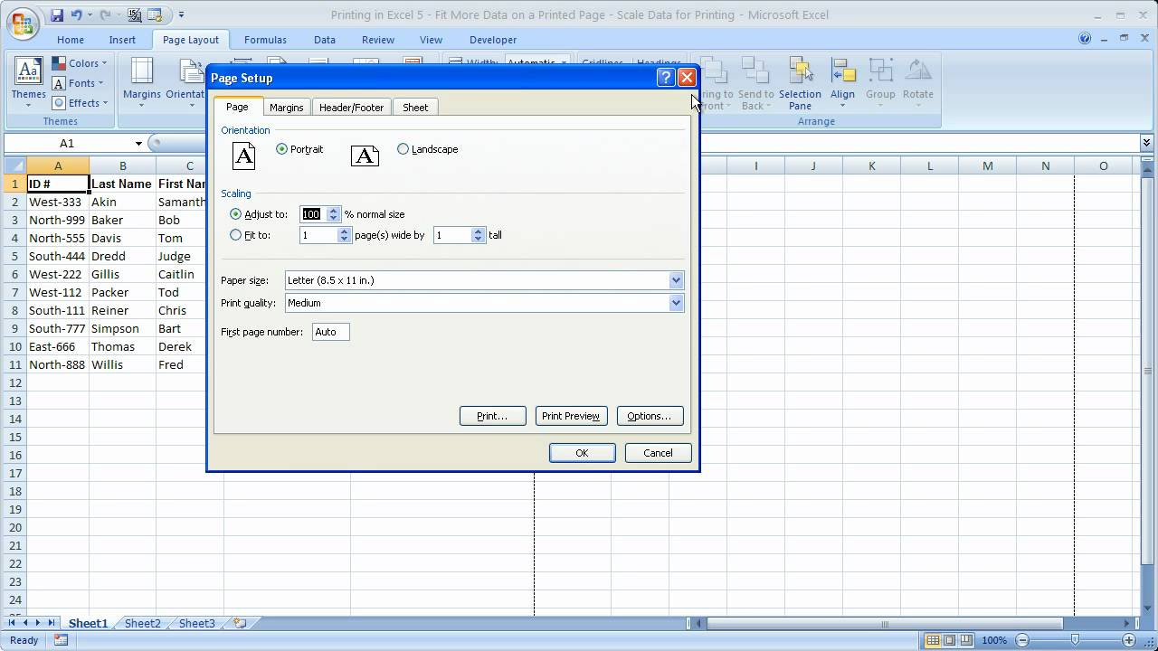How to make an excel sheet smaller - Printing In Excel 5 Fit More Data On A Printed Page Scale Data For Printing Youtube