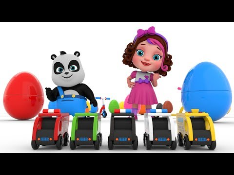 Pinky and Panda Fun play with Surprise Eggs and Street Vehicles Toys