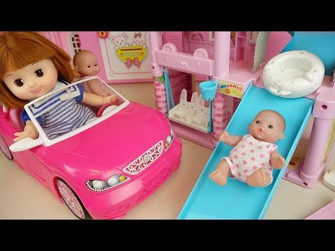 Baby doll slide house and car toys baby doli play
