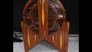 Art Deco Glass Fronted Bookcase Display Cabinet