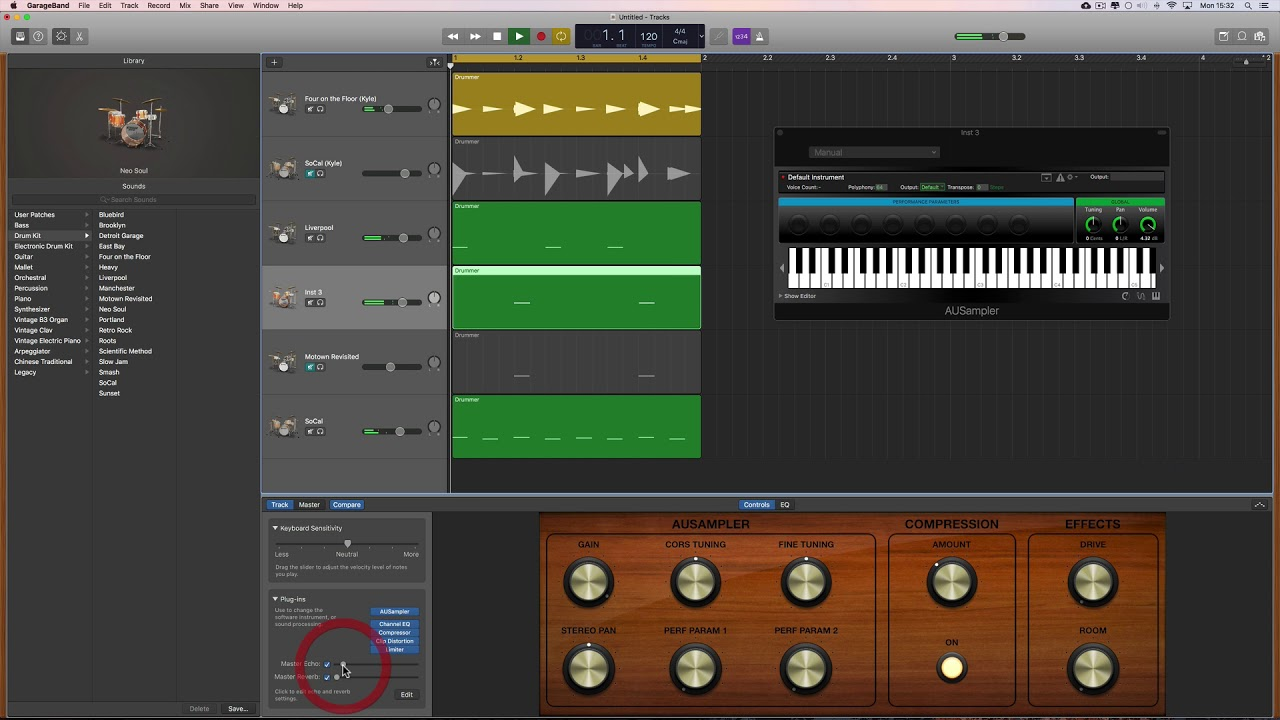 GarageBand Tutorial: Custom drum samples using AU Sampler instrument
