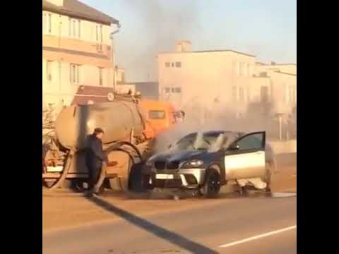 Lynch and Taco - A Driver in Russia Sprays His Burning Car with Waste from a Septic Truck