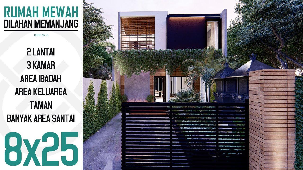 Desain Rumah Kontemporer Minimalis 2 Lantai 8x25m Kode NV ...