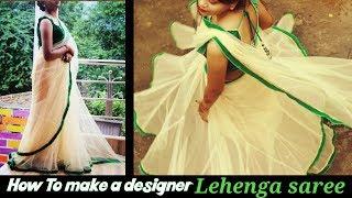 How to make a designer saree at home | sabyasachi inspired | DIY lehenga saree