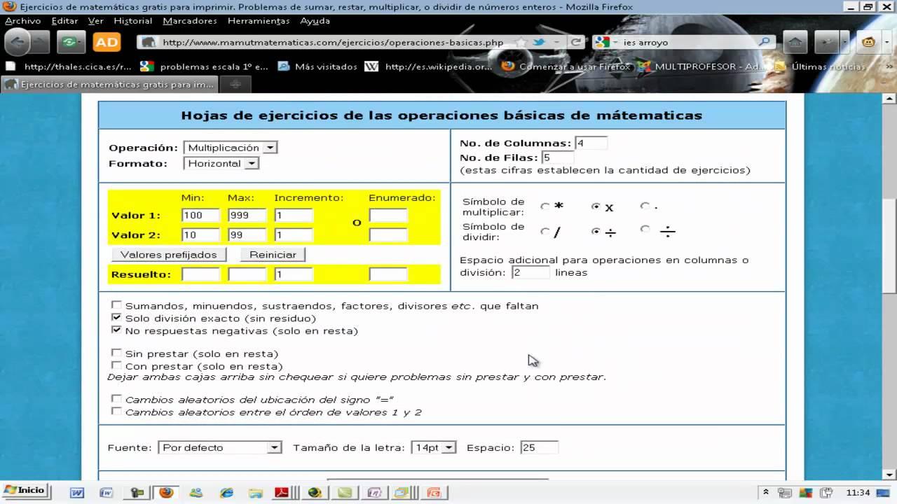 Único Generador De Ejercicios De Matemáticas Bosquejo - hojas de ...